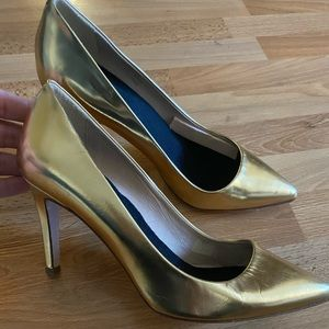 J. Crew shiny gold heels pumps made in Italy 6